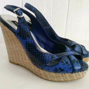 WHBM Sophie Blue Peep Toe Wedge Shoe. Size 8.5
